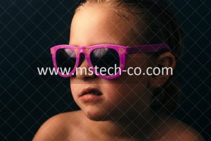 girl wearing pink framed sunglasses photo