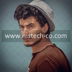 man in brown crew neck shirt and gray fedora hat photo