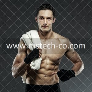 topless man wearing black gloves holding towel photo
