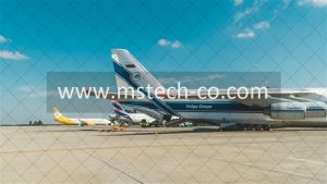 white and blue air liner photo