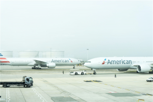two American Airlines planes on airport photo